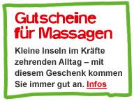 Gutscheine für Massagen: Kleine Inseln im Kräfte zehrenden Alltag - mit diesem Geschenk kommen Sie immer gut an. Infos